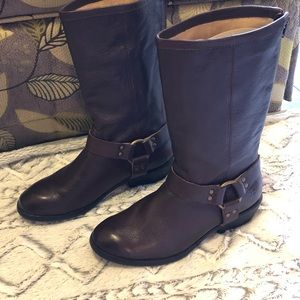 FRYE Girls Mid Calf Phillip Harness Brown Boots, 3